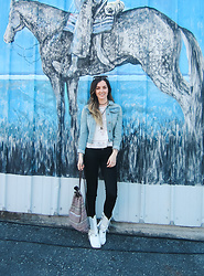 Kassy D - Judy Blue Denim Jacket, Forever 21 Embroidered Top, American Eagle Outfitters Black Jeans, Vintage White Fringe Cowboy Boots, Aphorism Backpack - Rodeo Blues