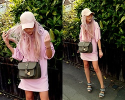 Joanna L - Marc B. Bag, Marni Heeled Sandals, Bershka Powder Pink Dress - Sporty chic / marc b. bag & marni heels