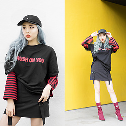 Essy Noir - Cnvs Soju Dad Cap, Kaleidoscope Shop Crush On You Shirt, Miss Guided Skirt With Straps, Vetements Lighter Heel Boots - Crush On You