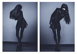 Placide Avantia - Demonia Vegan Boots, House Of Widow Shredded Hoodie, House Of Widow Spiked Cardigan - I love dead people