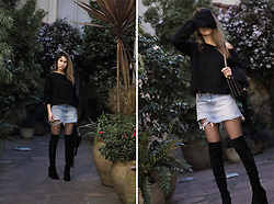Lena Juice -  - SELF KNITTED SWEATER AND RIPPED DENIM SKIRT