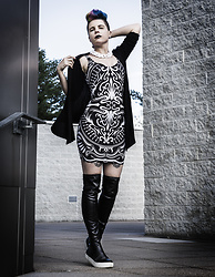 Carolyn W - White, Anthropologie Black, Black Milk Clothing Back Of The Deck, Dolls Kill Thigh High - Black & White