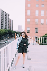 Dolledupbee - Zara Hooded Dress, Forever 21 Denim Jacket, Aldo Sunnies, Adidas Ultra Boots - That way