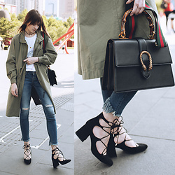 Lolita Sharun - Lee Light Khaki Parka, Zara Black Heels With High Lacing, Gucci Dionysus Leather Top Handle Bag - Friday Stroller
