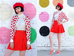 Amy Roiland - Betty And Veronica Jacket, 5ymedio Sandals - Dots Dots all around Dots