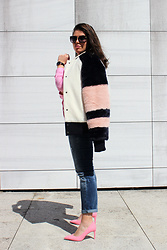 Joana Sá - Gianfranco Ferrè Sunglasses, Daniel Wellington Watch, Cinco Alexa Necklace, Zara Pink Shirt, Zaful Coat, Zara Jeans, Zara Shoes - Bubble