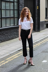Summer R - Topshop Girls Girls Girls Graphic White Tee, And Other Stories Black Flared Cropped Jeans, Zara Khaki Mary Janes - Girls Girls Girls