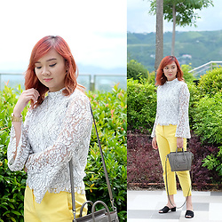 Jean Yu - Na Kd Lace Top, Promod Trousers, Zalora Sandals, Celine Bag - Lacey