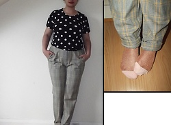 Selina M - Urban Outfitters Checked Trousers, Monki Sparkly Socks, Self Made Polka Dot Top - Don't forget to dot the i