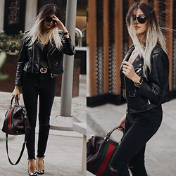 NigarN - Gucci Bag, Zara Leather Jacket, Flavio Castellani Starry Shoes, Stradivarius Silky T Shirt, Zara Super Hight Wasted Black Jeans - Gu Chi