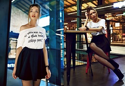 Porcelanna - Dawanda T Shirt, H&M Skirt, Czasnabuty Heels - Hit me, baby, one more time