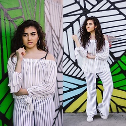 Dolledupbee - Forever 21 Off Shoulder Blouse, Adidas Originals - More stripes
