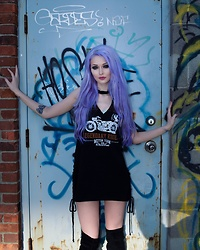 Alyssa Claire - Tobi Toni Dress, Solewish Thigh High Boots - Down n gritty