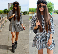 Terri L - Boohoo Dress, Zaful Sunnies, Timberland Boots - BOOHOO X DRESS OF THE MONTH