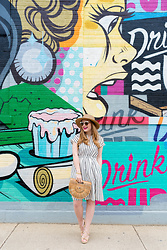 Ashley Hutchinson - Choies Striped Summer Dress, Gaia Ark Bag, Aquazzura Nude Lace Up Wedges, Forever 21 Straw Boater Hat - Striped Summer Dress