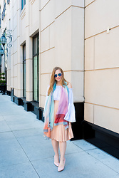 Ashley Hutchinson - Sin Scarves Silk Scarf, Zara Pink Pleated Skirt, Shein Off The Shoulder Bell Sleeve Blouse, Victoria Beckham Mirrored Aviator Sunglasses, Dune London Pink Pumps - Silk Scarves & Pleats