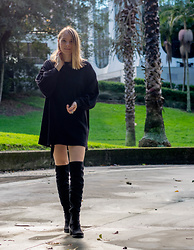 Malin P - H&M Sweater, Asos Over Knee Boots - All Black