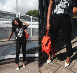 Remi Afolabi - Missguided T Shirt, Missguided Backpack, Sling Back Heels, Missguided Black Jeans - Something New