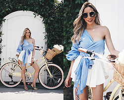 Maria De La Cruz - Haute & Rebellious Call Me Striped Ruched Sleeve Top Blue, Haute & Rebellious Cool Kids Sunglasses Olive Tint - MEMORIAL DAY WEEKEND