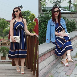 Rebel Takipte - Zaful Stripe Dress, Ami Club Wear Beige Shoes - Stripes