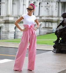 Lauren Recchia - Theory Bodysuit, Zara Trousers, Zara Headband - Pink Stripes