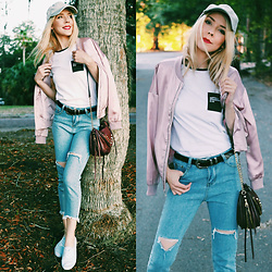 Zuzana - Romwe Mom Jeans, Romwe Buckle Belt, Tally Weijl Graphic Tee With Pocket, Missguided Satin Bomber - Mom Jeans