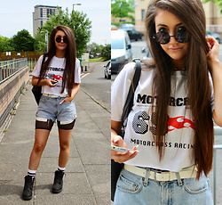 Terri L - Missguided Top, Levi's® Shorts, Missguided Bodysuit, Timberland Boots - CARNIVAL SHOUT
