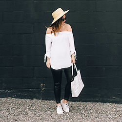 Alexandra G. - Aritzia Off The Shoulder Top, Aritzia Leather Leggings, Converse White Low Tops, Urban Outfitters Straw Boat Hat - Summer Daze