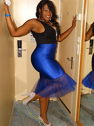Eshay Francois -  - Black Tank with Royal Blue Tulle Skirt