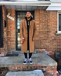 RunWithAJ - Vans Off The Wall Shoes, Forever 21 Trench Coat, Topman Hoodie, Levi's® Hat, H&M Joggers - Sophisticated Chill