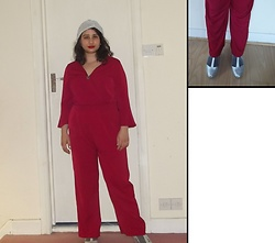 Selina M - Beyond Retro Silver Turban, Yesstyle Red Jumpsuit, Amazon Silver Heels, Monki Sparkly Socks - Break up and shake away