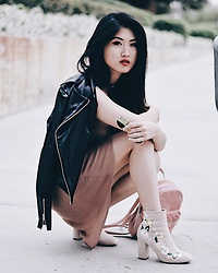 Cece Lam - Boohoo Leather Jacket, Tobi Chiffon Dress, Boohoo Embroidered Booties - Leather, Suede & Chiffon