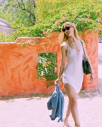 Katie Van Daalen Wetters - Céline Tailor Sunglasses, Fashion Nova White Lace Up Dress, Chinese Laundry Nude Lace Up Sandals, Chanel Patent Bag - XXX