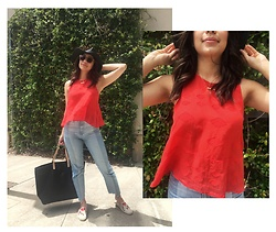 Melissa De Leon - Carla Colour Square Sunglasses, Lou & Grey Red Tank Top, Ag High Rise Denim, Soludos Embroidered Espadrille - Red Diamond Tank