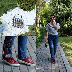 Rebel Takipte - Rosegal Cherry Bag, Jolly Chic Embroideried Jeans - Cherry Bag