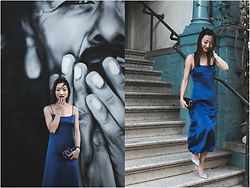 Qianwen Chen - Reformation Slip Dress, Jimmy Choo Romy - Slip Dress