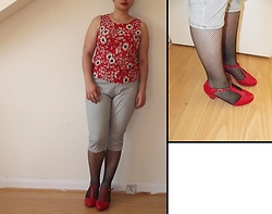 Selina M - Self Made Floral Top, Swapped Checked Trousers, Amazon T Bar Heels, Yesstyle Fishnet Stockings - Girls just wanna have fun