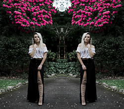 Alex MacEachern - Primark White Off The Shoulder Boho Top, H&M Black Maxi Leg Split Skirt, Spylovebuy Nude Suede Thigh High Boots - You Are Unforgettable