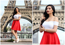 Gilda - Asos Heart Crop Top, Shein Red Flared Skirt, Boohoo Plateau Sneakers, Cluse Golden Watch - Special Date Outfit in Paris