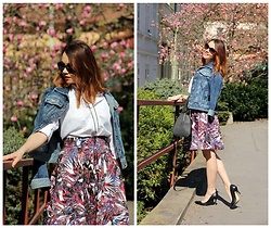 Jana Dishani - Next Denim Jacket, Zara Shirt, Margifashion Skirt, Guess Shoes, Calvin Klein Bag - New MargiFashion skirt