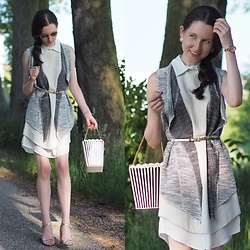 Claire H - Romwe Dress, H&M Bicolor Heels, Romwe Popcorn Bag - Shirt dress with a glow