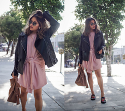 Eda Semana - Forever 21 Sweatshirt Dress, Forever 21 Leather Moto Jacket, All Saints Freedom Hobo Bag, Forever 21 Horsebit Floral Loafer Mules, Ray Ban Round Metal Sunglasses - Sweatshirt Dress and Leather Moto