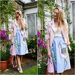 Madara L - Boohoo Pink Faux Leather Jaket, Zaful Striped Summer Skirt, Zaful Bucket Bag - Tropical summer look