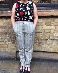 Selina M - Self Made Alice In Wonderland Print Top, Urban Outfitters Checked Trousers, Clarks T Bar Sandals - Lucky rabbits foot