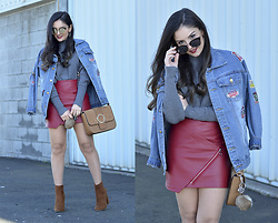 Alba . - Shein Jacket - Red Leather Skirt