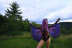 Sera Brand - Dress Lily Purple Butterfly Wings, Dress Lily Floral Mesh Bodysuit - Purple Fairy