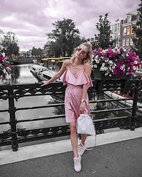 Anne Britt - Nakd Pink Frill Sleeve Satin Dress, Zara Soft Shopper, Elise Store Pink Sneakers, Rosefield Tribeca Watch - PINK CRUSH