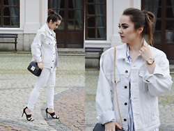 Sispolitan Lach - Levis Jacket, Fossil Watch, Mango Pants, Mango Heels, Zaful Bag - White