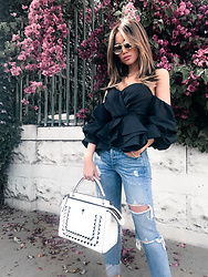 Jessi Malay - Stylekeepers One By Reveal & Conceal Top, Grlfrnd X Revolve Karolina Jeans, Fendi 'Dotcom' Leather Bag, Linda Farrow Oversized Sunglasses - Ruffles + Denim