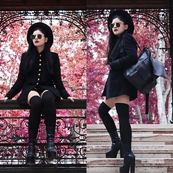 Leonarda Eufemia - Zara Military Coat, Springfield Faux Leather Bag, Gossip Beatle Platforms, H&M Wide Brim Hat - Summer Goth